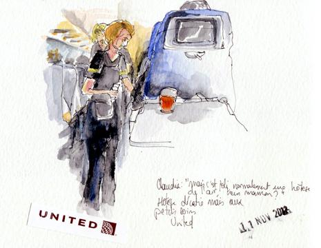 Hôtesse, vol United New-York-Paris
