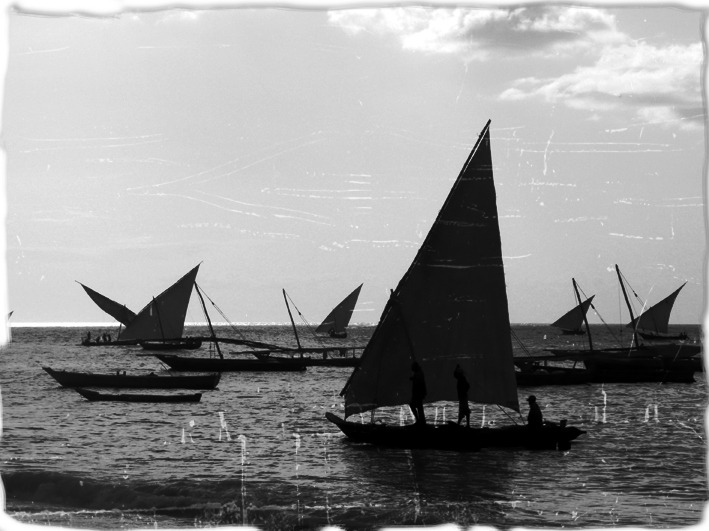 Boutres, départ de pêche, Zanzibar