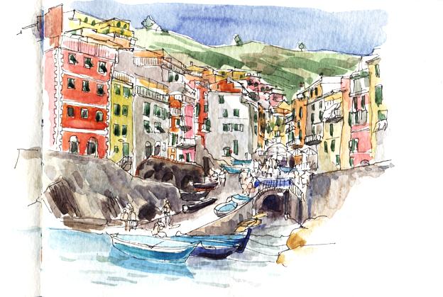 Riomaggiore, fin d'après-midi, encre et aquarelle