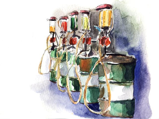 Pompes à essence, Koh Yao Noi, encre et aquarelle