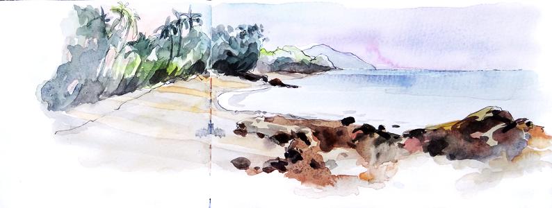 La plage, Koh Yao Noi, Encre et aquarelle, Thailande