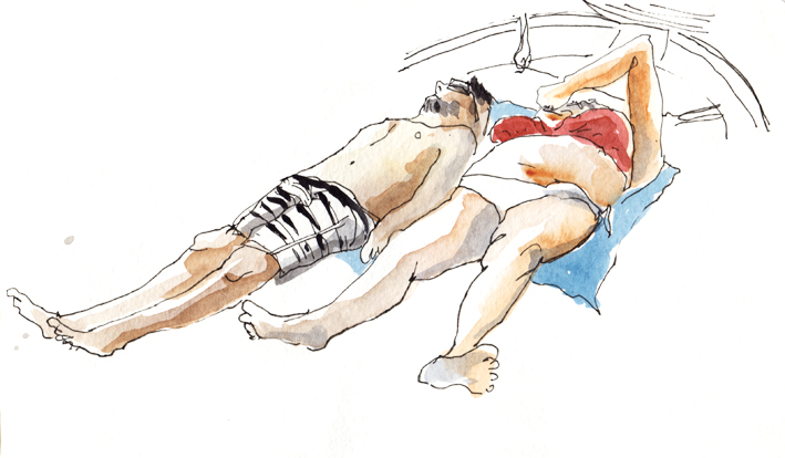 Val et Max bronzent sur le pointu, encre et aquarelle