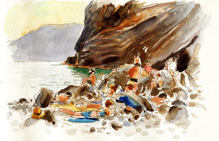 La plage à Vernazza, Delphine Priollaud-Stoclet