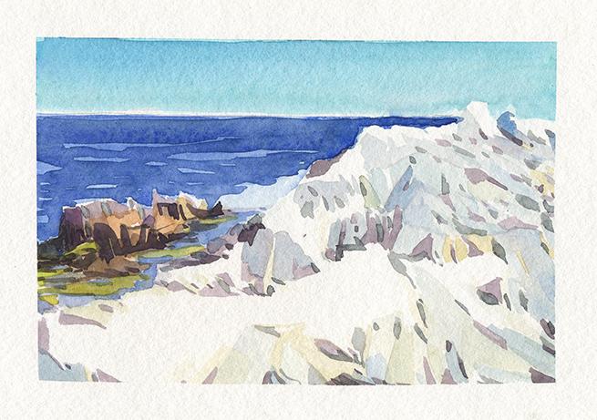Les rochers blancs du Cap d'Antibes, Aquarelle, Delphine Priollaud-Stoclet